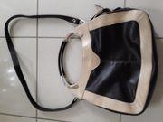 Lederhandtasche dunkelbraun beige