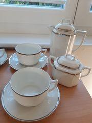 Kaffee-Service Porzellan mit Silberrand ca