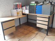 Massiver Schreibtisch mit Anbau Holz