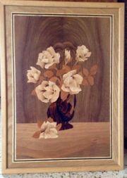 Holzbild mit aufwändiger Intarsienarbeit