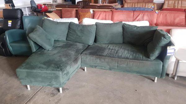 Sofa L-Form Velour grün - H171218