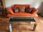 Ledersofa 2-teilig Orange
