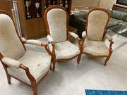 alte Echtholz Stoff Stühle