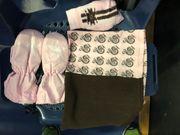 Winterset rosa braun Handschuhe Schlaufenschal