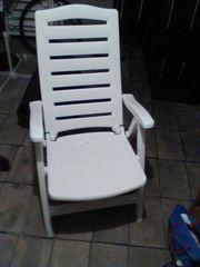 5 Gartenstühle Kunststoff weiß klappbar