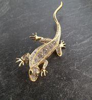 Brosche Strassbrosche Salamander Echse goldfarben