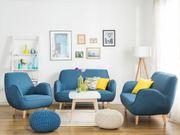 3-Sitzer Sofa Polsterbezug blau KOUKI neu