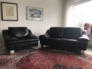 Couch 2-Sitzer Sessel Leder schwarz