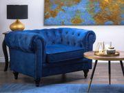 Sessel Samtstoff kobaltblau CHESTERFIELD neu -