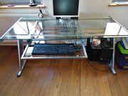 Schreibtisch Glasplatte mit Alu-Rahmen und