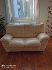 Leder-Sofa 2-Sitzer und Leder-Sessel in