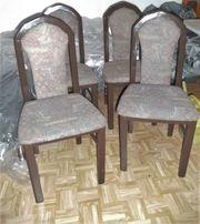 4 Eßzimmerstühle gepolstert Hochlehner Holzstühle