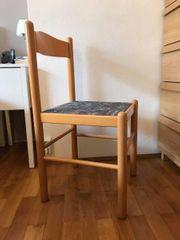 2x Stuhl Massivholz niedrig Stoffbezug