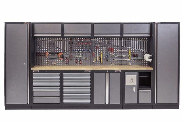 Komplette Werkstatteinrichtung mit Hartholzplatte Werkstatt