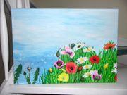 Bild Blumenwiese Acrylbild Wandbild Original