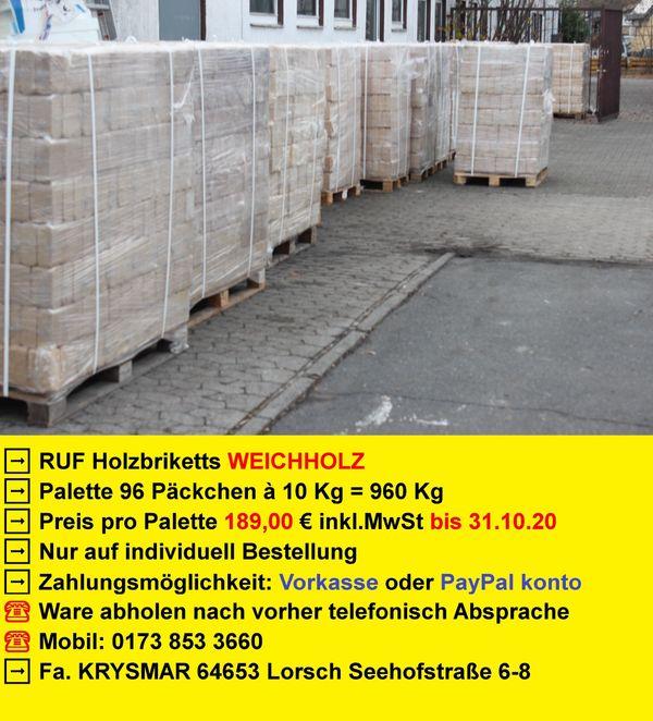 960 Kg RUF Holzbriketts Briketts