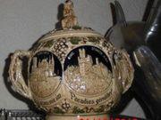 Bowle Gefäß Burgen Deckel Figur