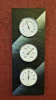 Wetterstation aus Schiefer Barometer Therometer