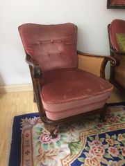 Chippendale Sessel mit Samtbezug