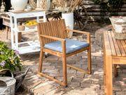 Gartenstuhl hellbraun Akazienholz Auflage blau