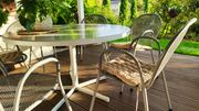 Gartenstühle 6 Stück Gartentisch rund