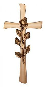 Kreuz mit Rose bronzefarben für