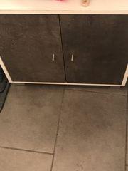 Waschbecken unterschrank grau weis