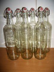 6 schöne Klarglas-Bügelflaschen - je 1