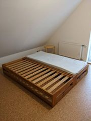 Massivholz Doppelbett Sofa
