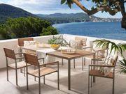 Gartenmöbel Set Holz Edelstahl 6-Sitzer
