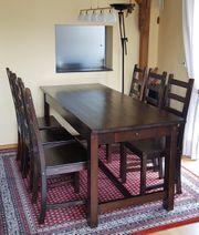 Esszimmertisch mit 6 Stühlen massiv