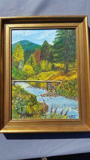 schöne Landschaft Ölmalerei 1988 Prof
