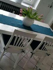 Esstisch mit 4 Stühlen weiss