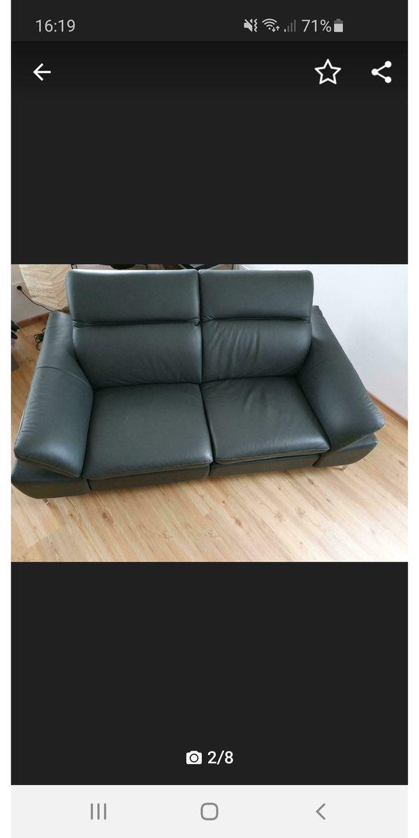 Couch Lederlook dunkelgrau