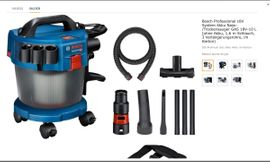 Bosch Professional 18V System Akku Nass-/Trockensauger GAS 18V-10 L Akku, 1,6 m Schlauch, 3 Verlänge