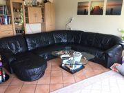 Couch echt Leder in schwarz