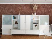 Modernes Designer- Highboard Wohnwand weiß