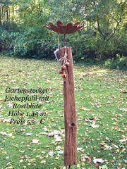 Gartenstecker Eichepfahl mit Rostblüte
