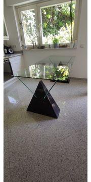 Designer Tisch Glas schwarzer Mamor