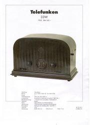 Telefunken 33W Röhrenradio Schaltbild Beschreibung