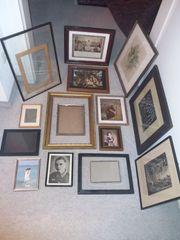 Konvolut alte Bilder Rahmen Holz