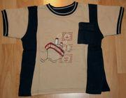 Beige-blaues T-Shirt - Größe 98 - Kurzarm -