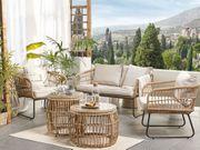 Gartenmöbel Set Rattan 4-Sitzer Auflagen