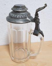 Pressglas Bierkrug 0 5L Zinndeckel