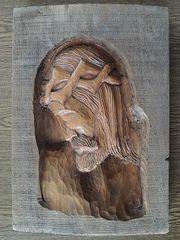 altes geschnitztes Holzbild Reliefbild Christus