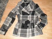 Damen Schwarz Grau Karierte Mantel