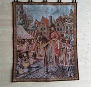 Wandteppich aus Baumwolle Mittelalter Marktszene
