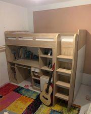 Hochbett inkl eingebautem Schreibtisch Regal