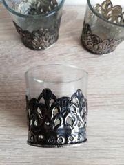 Teelichtgläser mit Zinn umrandet