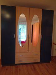 Großer Spiegel-Schrank mit Schubladen blau